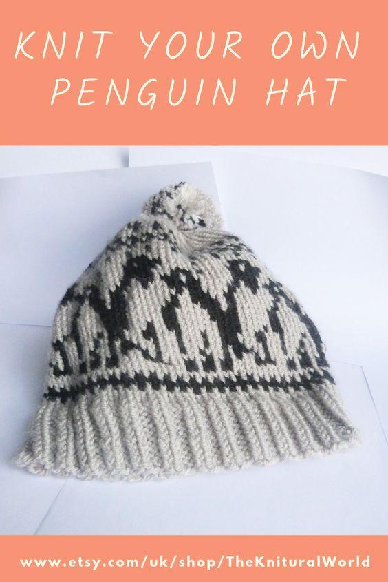 Penguin Hat Pdf Knitting Pattern Fair Isle Hat Easy Knit Etsy Knitting Knitting Patterns Knitted Hats
