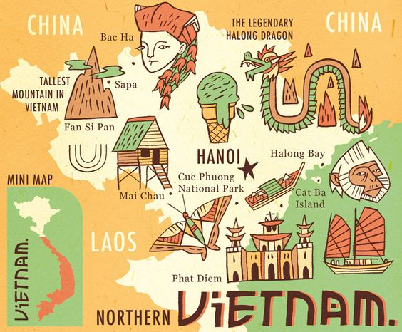Owen Davey Vietnam Map Travel Info folioart – Travel Map Of Vietnam