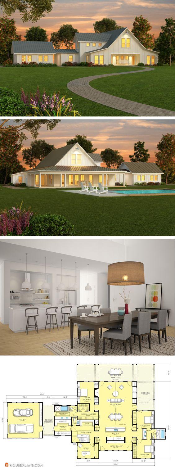 Farmhouse floor plans modern farmhouse and plan plan on for Modern farmhouse design