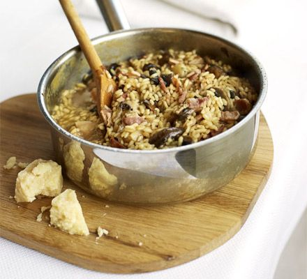 This bacon and mushroom risotto is one of my favourites to make after a hard day at work. It cannot be rushed!