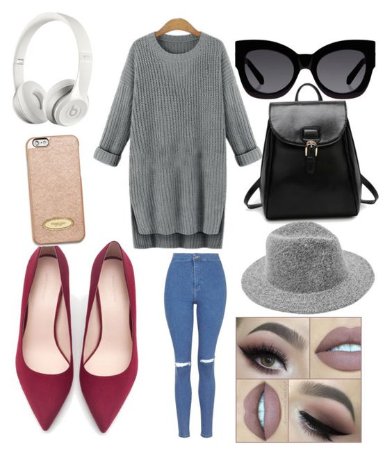 """First day of college outfit"" by onikac on Polyvore featuring Topshop, Zara, Karen Walker, Beats by Dr. Dre and MICHAEL Michael Kors"