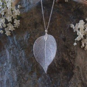 Boho necklace natural leaf pendant Nature jewelry KN511 Silver Long necklace for women Unique gifts for women Real leaf necklace in gold