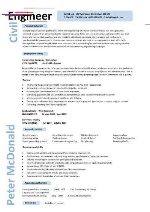 Cv Template Civil Engineer Resume Format Engineering Resume Job Resume Samples Civil Engineer Resume