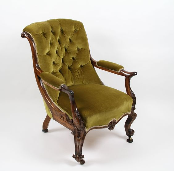 Early Victorian carved rosewood framed easy chair
