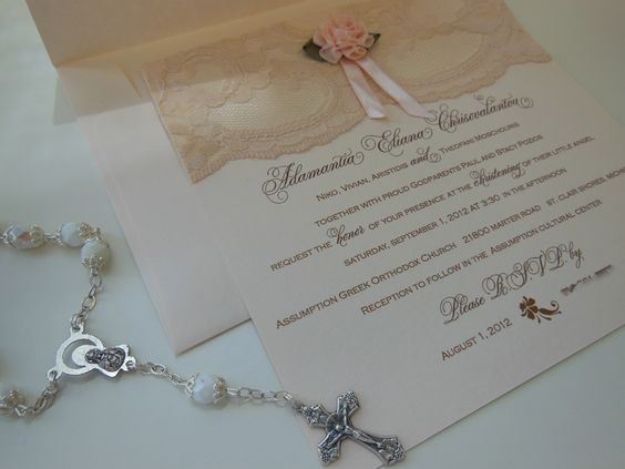 Chantilly lace christening, baptism, communion or birth announcement by Embellishments Invitations xo