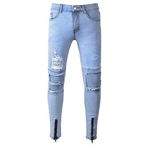 Rameng Jeans Homme Dechire Styles Fermeture Eclair Trou Mode