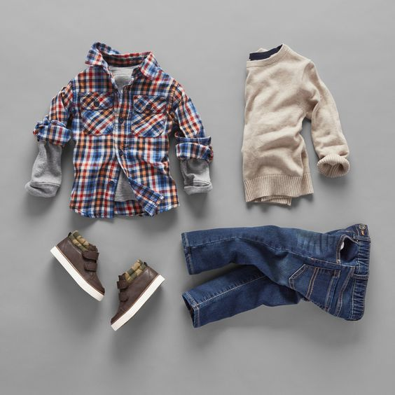 Toddler fashion   Kids' clothes   Plaid shirt   Sweater   Jeans   Hi-top sneakers   The Children's Place