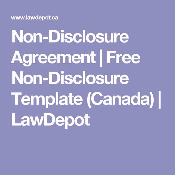 non disclosure agreement free non disclosure template canada