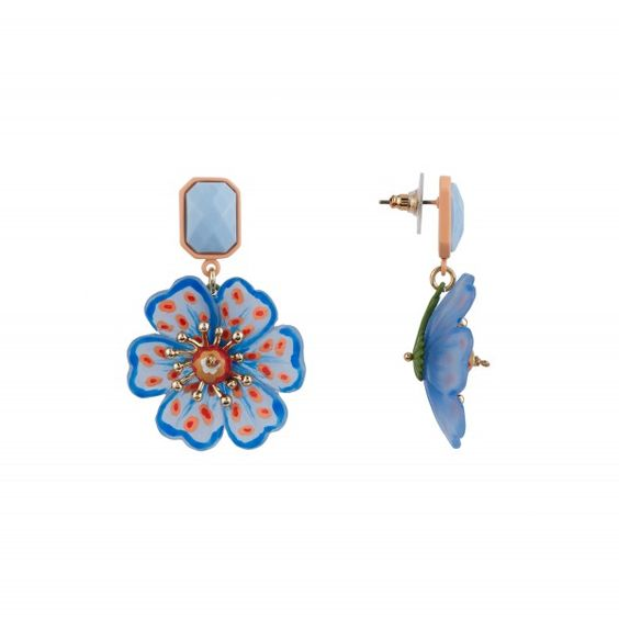 Boucles d'oreilles coquelicot psychédélique bleu à pois - Les Néréides Paris & N2