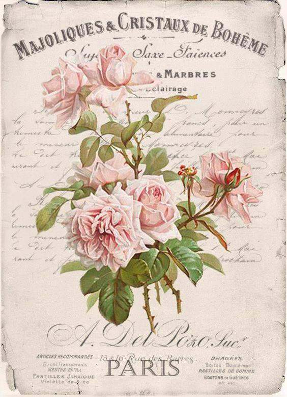 Vintage flowers digital collage p1022 free for personal use for Vintage geburtskarten