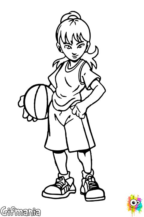 Ni a baloncestista baloncesto chica deporte dibujo for Nina needs to go coloring pages