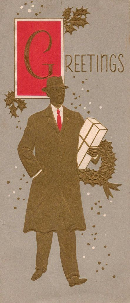 Gold embossed vintage Christmas card (very Mad Men-esque). #vintage #Christmas #cards