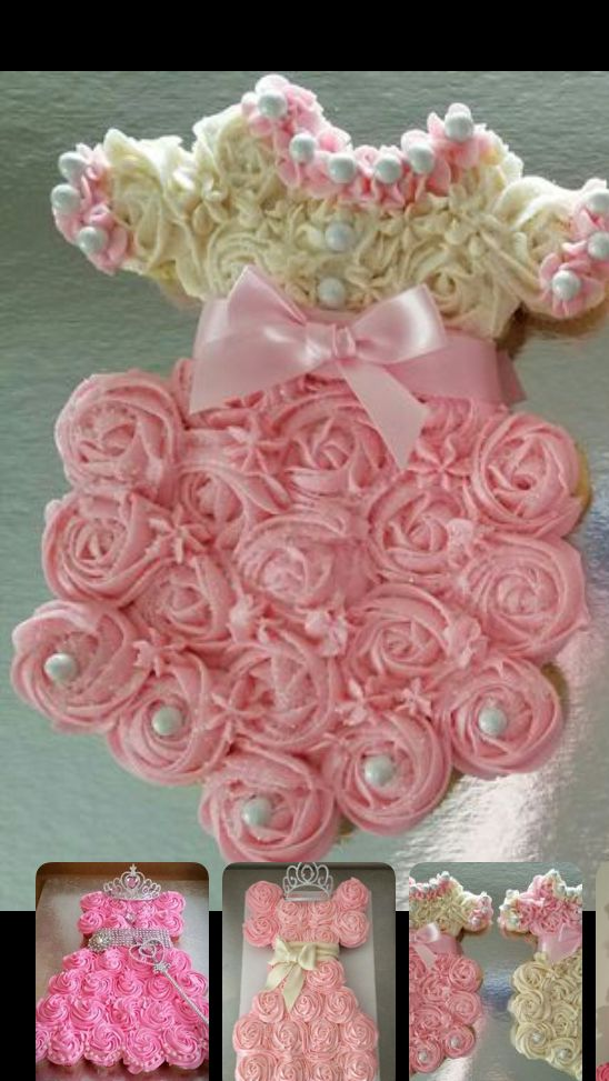 Baby Girl Dress Pull Apart Cupcake Cake With Images Girl