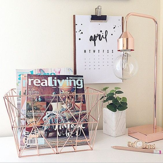 deco , rose gold, inspiration, bureau: