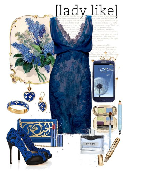 """Midnight Blue"" by mzdiamondgirl ❤ liked on Polyvore featuring Alberta Ferretti, Samsung, Betsey Johnson, Dareen Hakim, Karen Millen, Lipstick Queen, Sue Devitt, Dolce&Gabbana, Chantecaille and samsung"
