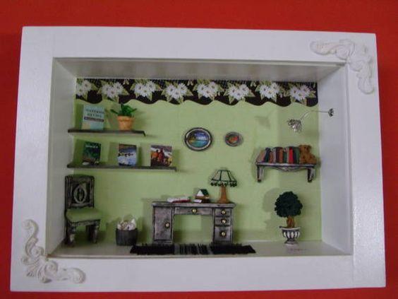 Cenário para sala ou escritório,feito em mdf,miniauras de resina,e com vidros de proteção.