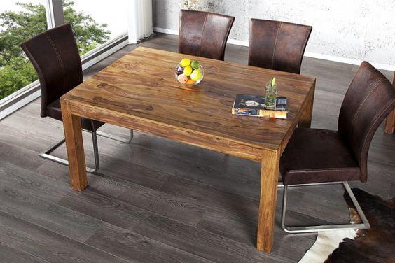 Exklusiver Massiver Esstisch LAGOS 140cm Sheesham stone finish Tisch - Sheesham ist ein hochwertiges Holz aus der Gruppe des Rosenholzes und gilt als Staatsbaum des indischen Staates Punjab. Der Baum