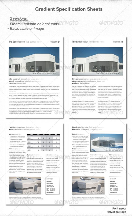 Elegant Gradient Spec sheets Print, Template and Http www - product spec sheet template
