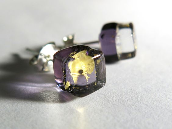 Handmade Liuli Glass Art- Ice Square (Purple Gold)- Artisan Fused Glass Earrings- Sterling Silver