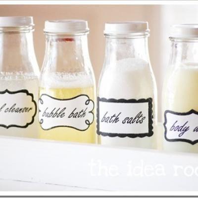 DIY Labeled Bathroom Jars: Bathroom Jar, Bathroom Idea, Diy Craft, Online Printable, Bath Jar, Frappuccino Bottle, Starbucks Bottle
