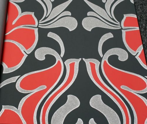 Red Silver Sparkles on Black Damask | Glitter 27 inches X 9 yds $76