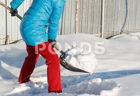 Girl Cleans Snow Shovel On The Site Near His House Sunlight Stock Photos Ad Snow Shovel Girl Cleans Snow Shovel Shovel Stock Photos