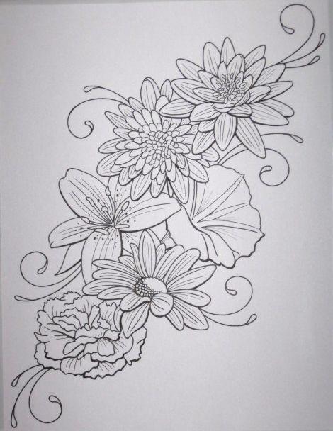Flower tattoo outline | Tattoos | Pinterest | Swirl design ...