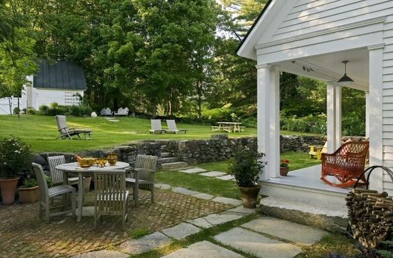 lovely cottage porch and backyard: Outdoor Living, Front Yard, Backyard, Outdoor Spaces, Design Idea, Patio Ideas, Back Yard