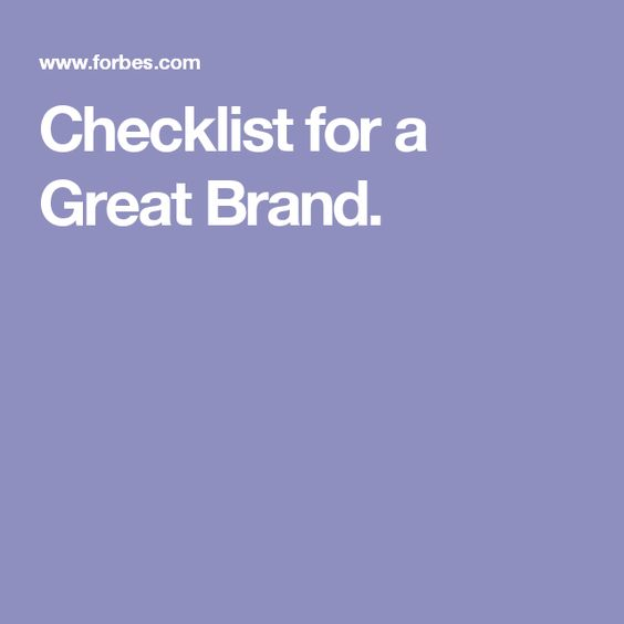 Checklist for a Great Brand.