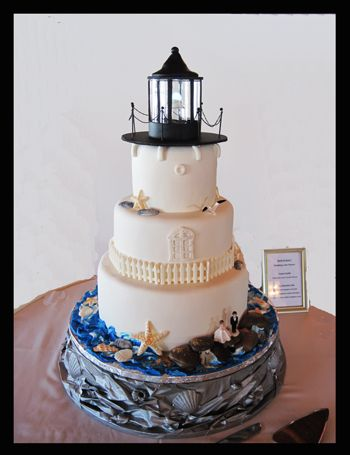 Lighthouse Wedding Cake - I made the stand out of crinkled paper, glue and seashells then spray painted it silver. Shells and fence on the cake are white chocolate. Topper is made from a clear glass jar, black fondant and toothpicks. There is a light inside that slowly goes on and off - battery operated Fairy Berry.