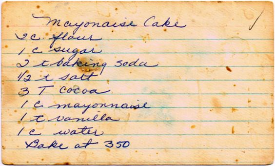 Vintage Mayonnaise Cake Recipe from The Cupboard Project | Cupboard Project