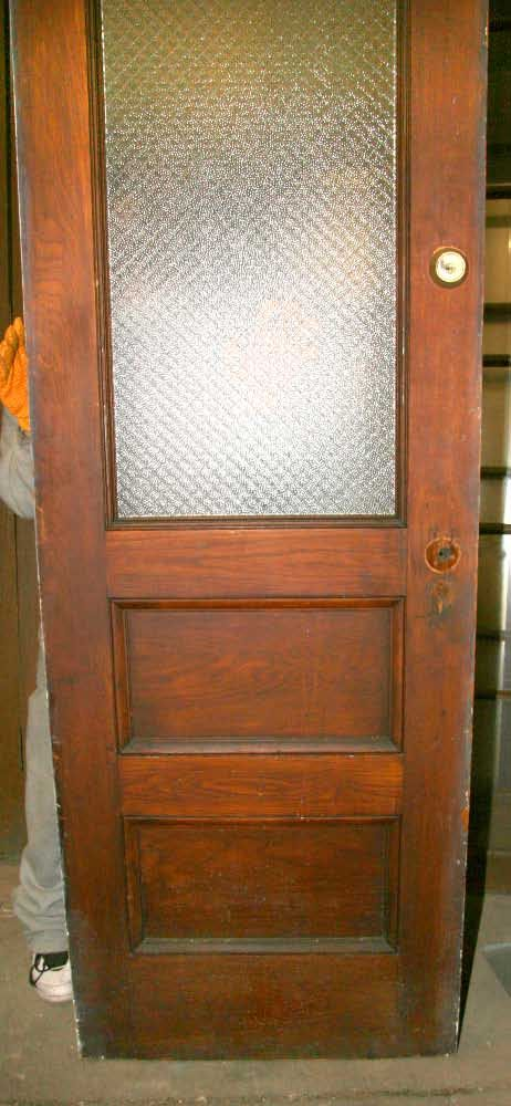 Antique tall oak door half glass with chicken wire glass - Interior doors with privacy glass ...