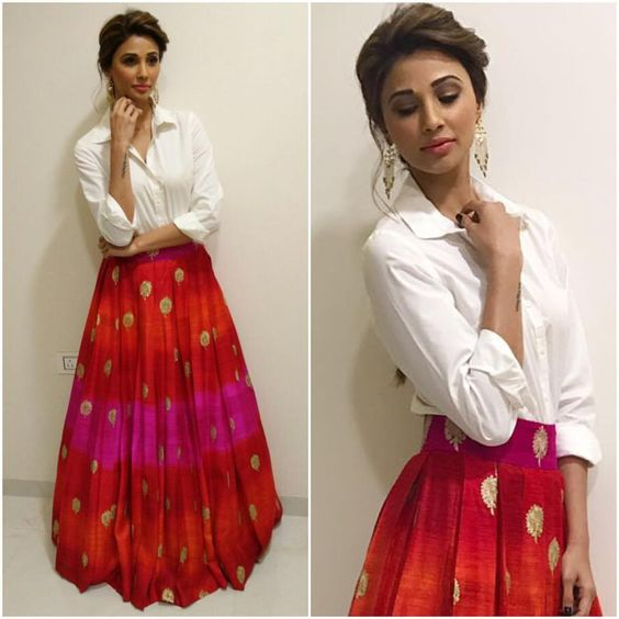 Lehenga and White Shirt, Daisy Shah