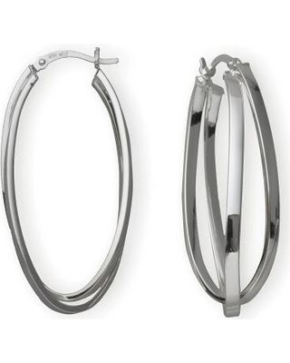 FINE JEWELRY Silver Hoop Earrings, Double Hoop Criss-Cross from JCPenney | ShapeShop