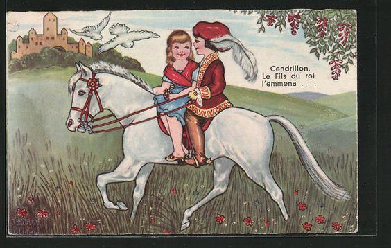 carte postale ancienne: CPA Illustrateur Margret Boriss: Aschenputtel reitet avec dem Prinz auf einem weissen cheval