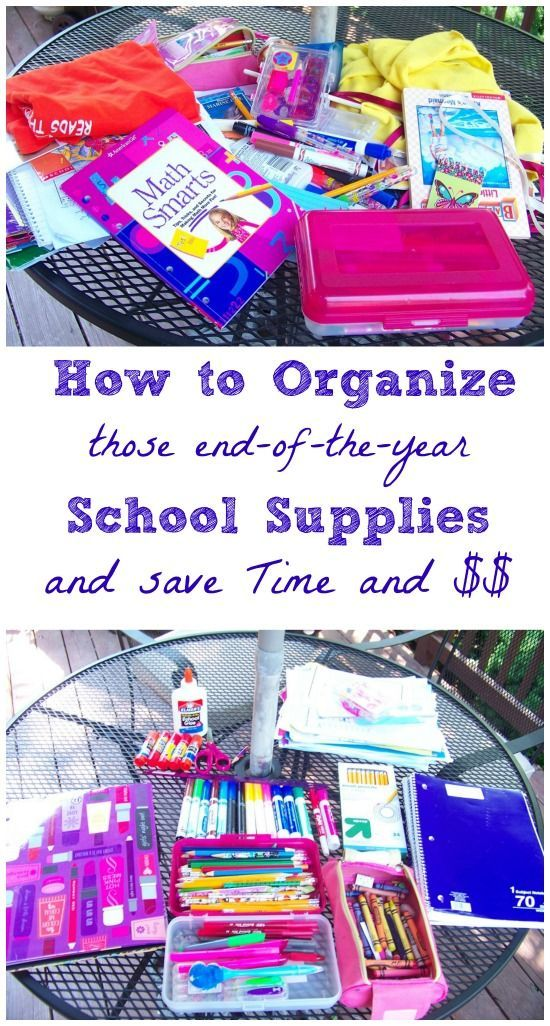 Great idea for end of the school year -- how to recycle and reuse school supplies to save money and be good to the environment.