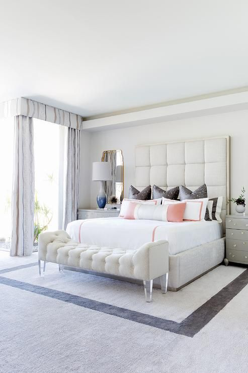 Tall Light Gray Tufted Headboard With Gray Nightstands