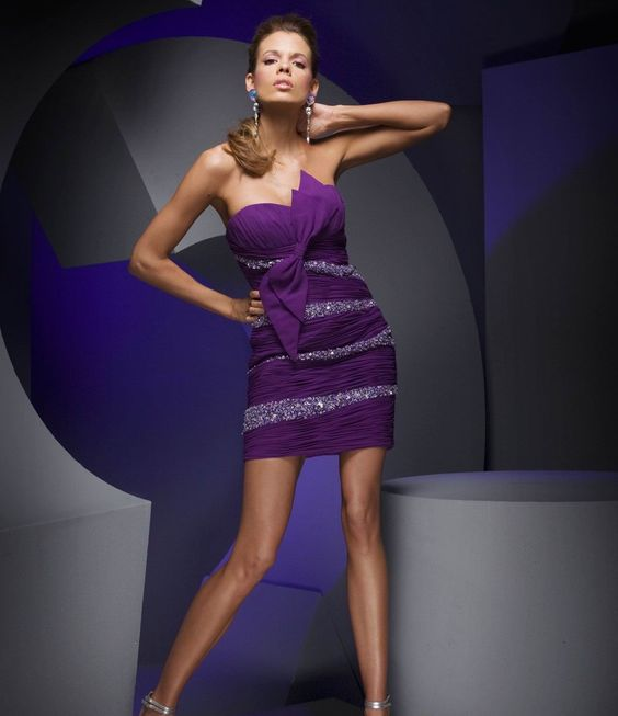 Purple A-line Strapless Beaded Bow Chiffon  Cocktail Dress     $194.23 Cocktail Dresses