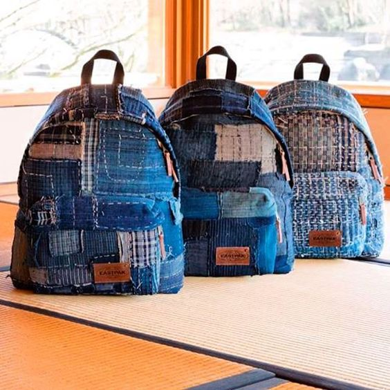 Limited edition @eastpak: made of authentic Japanese boro fabrics! Nice one @backtobackpr!  @eastpak_fr #japan #boro #eastpak #denim #jeans #blue #selvage #selvedge #authentic #denimheads #denimpeople #limitededition #limited #sashiko #fisherman #farmers