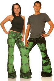 Batik pant Star green Hippie flare Bellbottom