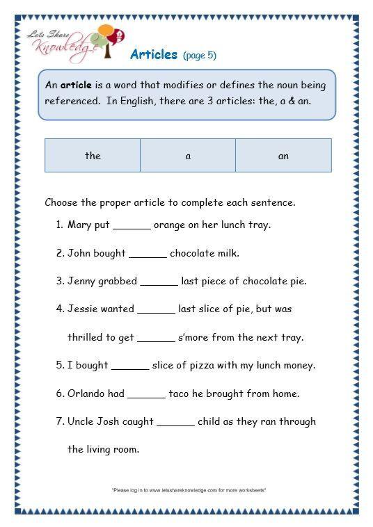Grade 3 Grammar Topic 34: Articles Worksheets - Lets Share Knowledge Articles  Worksheet, Grammar Worksheets, English Grammar Worksheets
