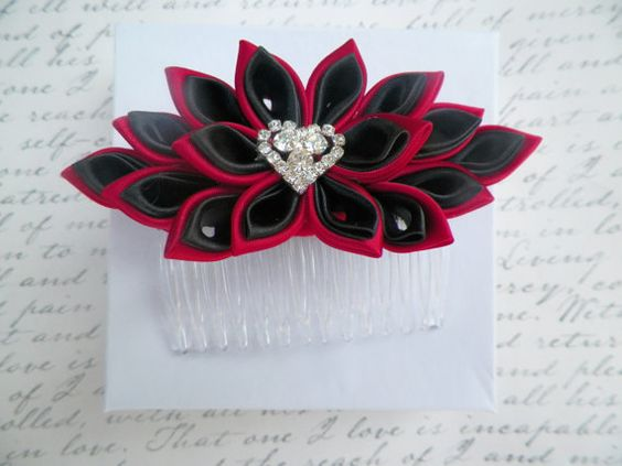 Black and Red Kanzashi Satin Flower Hair Comb by AngelPetals, $16.00