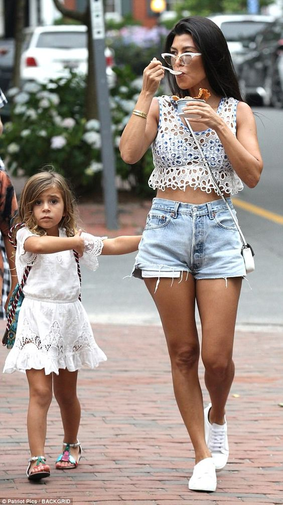Family time: Kourtney Kardashian enjoyed a sun-soaked trip to get ice-cream with Penelope, five, in Nantucket on Thursday