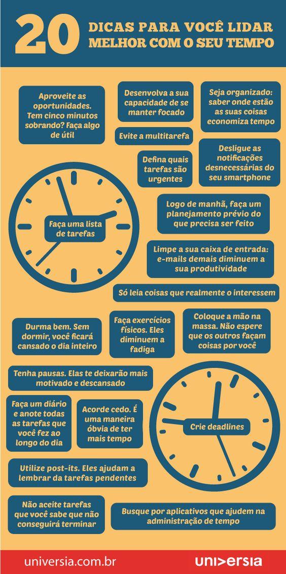 Produtividade: infográfico traz 20 dicas para você lidar melhor com o seu tempo: