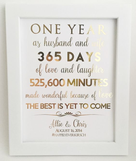 First 1st Anniversary Gift For Husband Or Wife Customizable Real Gold Foil Print Paper Gifts