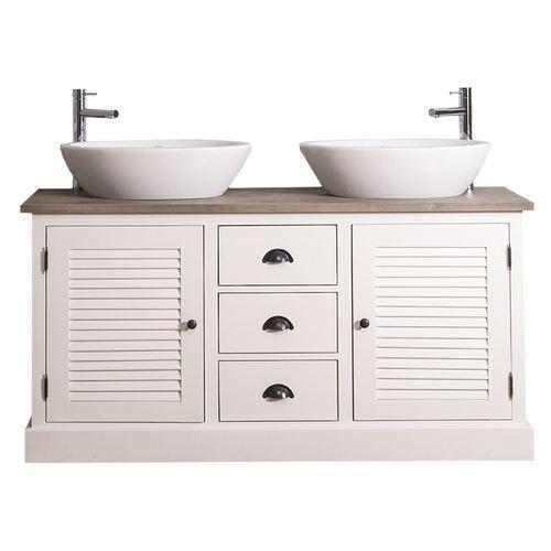 Doppel Waschtisch 2x Aufsatzwaschbecken Frei Wahlbar Shutter Design Landhausstil Massivh Aufsatzwaschbecken Waschtisch Holz Landhaus Waschtisch