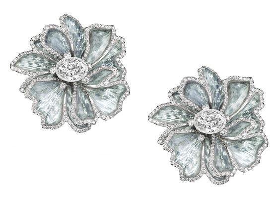 White gold, diamond and titanium earrings by Boghossian