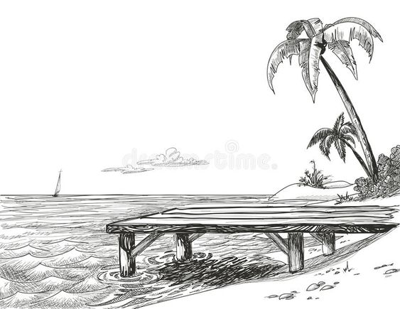 Beach sketch. Beach, sea and wooden jetty drawing , #spon, #sea, #sketch, #Beach, #drawing, #jetty #ad