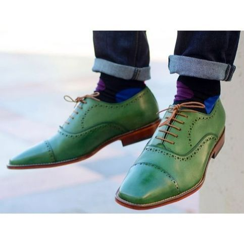 Handmade Men S Green Color Leather Shoes Cap Toe Dress Shoes