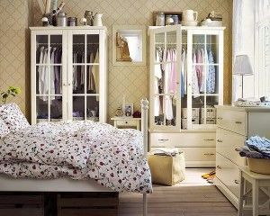 china cabinets as wardrobes - GENIUS FAB   (http://www.onekindesign.com/2012/04/27/46-ultra-fabulous-bedroom-design-ideas/)